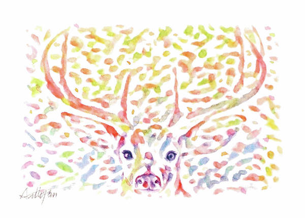 Pan Head Painting - Christmas,reindeer,mule,deer,antler,elk,head,woodland,watercolor,colourful,dazzling,hand-painted by Artto Pan