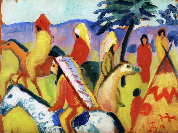 Wall Art - Painting - Reitende Indianer Beim Zelt - Digital Remastered Edition by August Macke