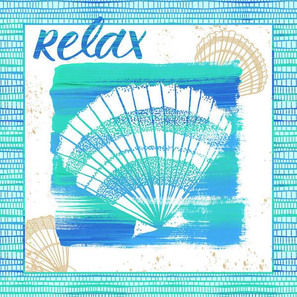 Painting - Relax Seashell Coastal Art by Jen Montgomery