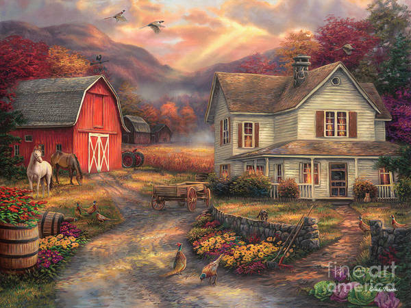 Old Barns Wall Art - Painting - Relaxing On The Farm by Chuck Pinson