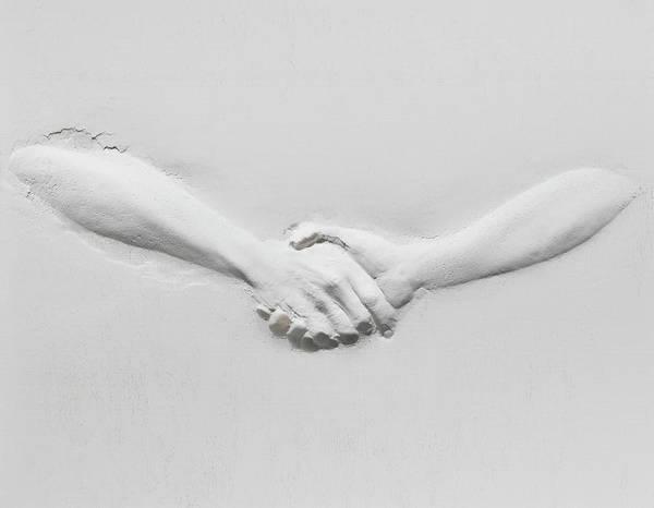 Plaster Photograph - Relief Of Handshake by Henrik Sorensen