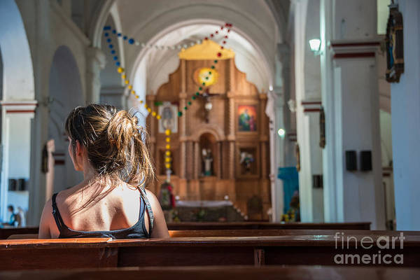 Wall Art - Photograph - Religious Scene Young Female Praying At by Dc aperture