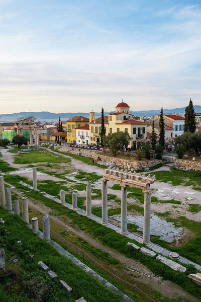 Photograph - Remains Of The Roman Agora And Cityscape Of  Athens, Greece by Iordanis Pallikaras