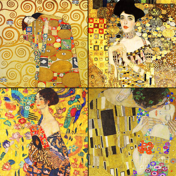 Wall Art - Photograph - Remastered Art By Gustav Klimt Four Squares 20190303 V2 by Wingsdomain Art and Photography