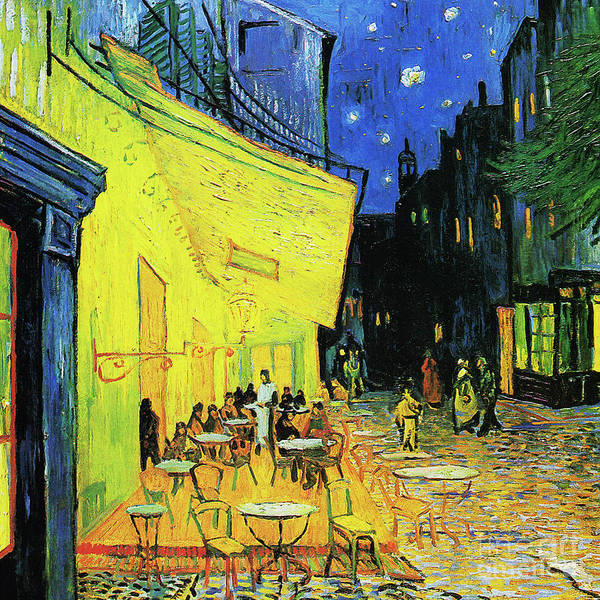 Photograph - Remastered Art Cafe Terrace At Night By Vincent Van Gogh 20190302 Square by Wingsdomain Art and Photography