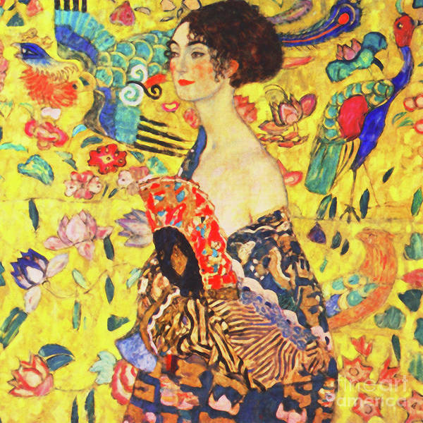 Photograph - Remastered Art Dame Mit Facher Aka Lady With Fan By Gustav Klimt 20190215a Sq by Wingsdomain Art and Photography