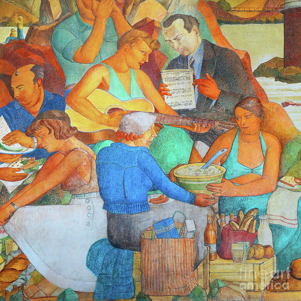 Photograph - Remastered Art San Francisco The Beach Chalet Mural Dsc6367 V1 Square by Wingsdomain Art and Photography