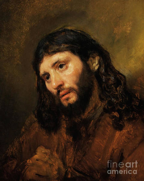 Photograph - Remastered Art Study Of The Head And Clasped Hands Of A Young Man As Christ In Prayer By Rembrandt by Wingsdomain Art and Photography