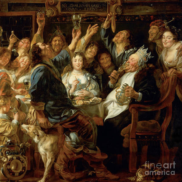 Photograph - Remastered Art The Feast Of The Bean King By Jacob Jordaens 20190506 Square by Wingsdomain Art and Photography