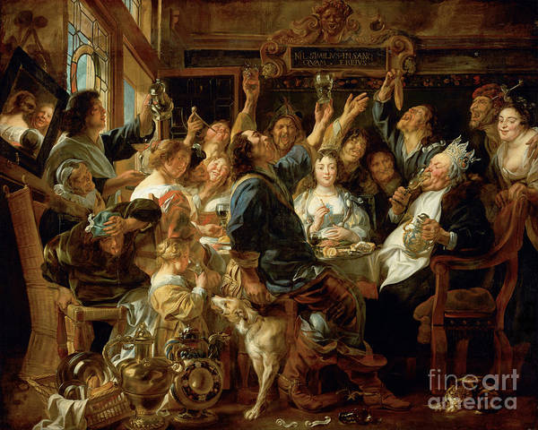 Photograph - Remastered Art The Feast Of The Bean King By Jacob Jordaens 20190506 by Wingsdomain Art and Photography