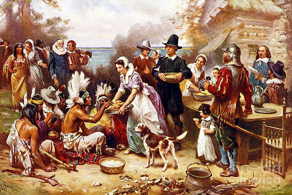 Photograph - Remastered Art The First Thanksgiving By Jean Leon Gerome Ferris 20181122 by Wingsdomain Art and Photography