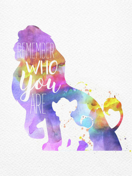 Wall Art - Digital Art - Remember Quote The Lion King Watercolor by Mihaela Pater