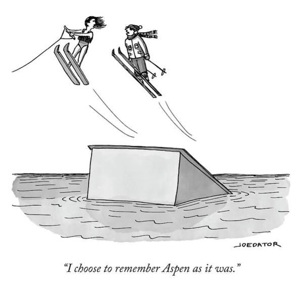 Skiing Drawing - Remembering Aspen by Joe Dator