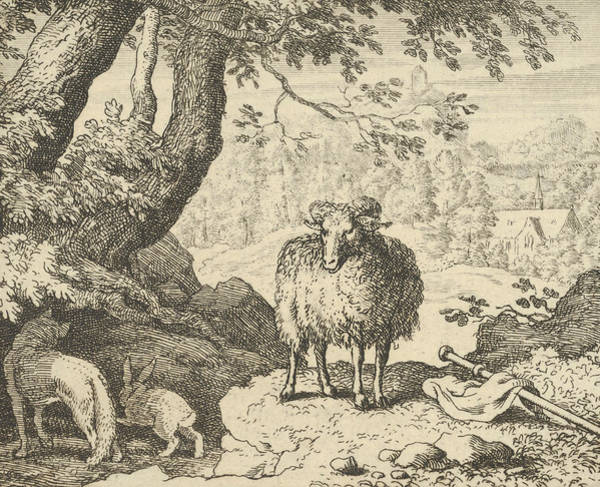 Wall Art - Relief - Renard Convinces The Rabbit To Enter His Burrow And Kills Him by Allaert van Everdingen