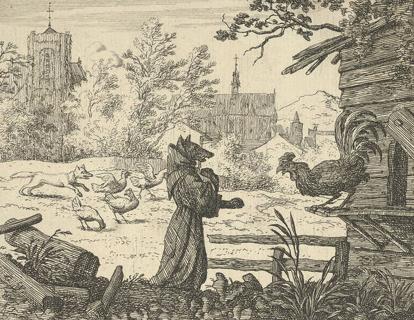 Wall Art - Relief - Renard, Disguised As A Monk, Gains The Confidence Of The Rooster by Allaert van Everdingen