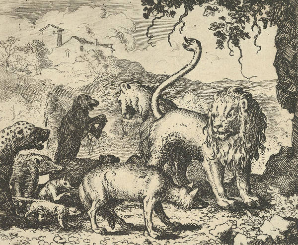Relief - Renard Is Accused By The Wolf And Several Animals by Allaert van Everdingen