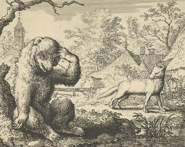 Relief - Renard Makes Fun Of The Bear by Allaert van Everdingen