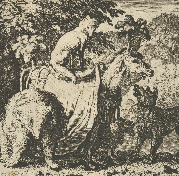 Relief - Renard Mounted On An Ass  by Allaert van Everdingen