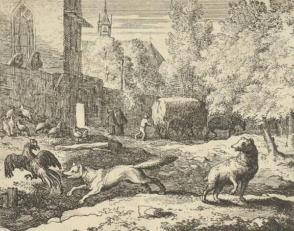 Relief - Renard Wants To Find A Rooster From Hendrick Van Alcmar's Renard The Fox by Allaert van Everdingen