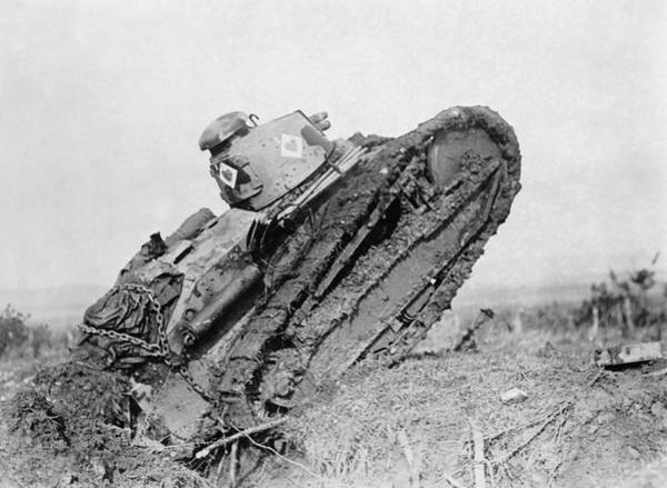 Wall Art - Photograph - Renault Tank On Battlefield - France - 1918 by War Is Hell Store