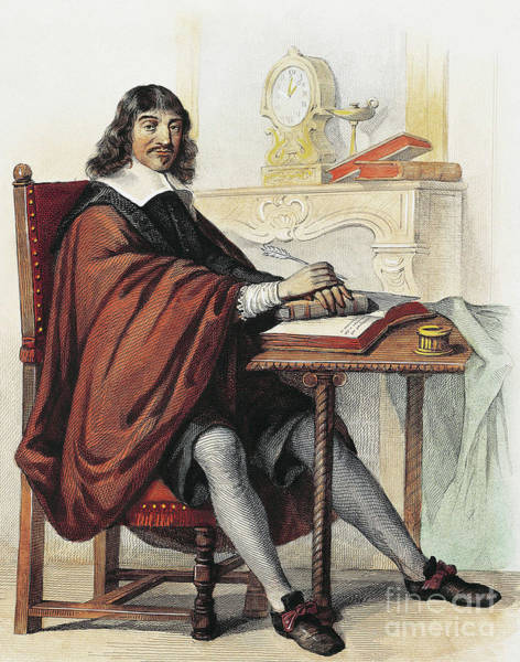 Wall Art - Drawing - Rene Descartes 1596-1660 French Mathematician And Philosopher, Engraving by French School