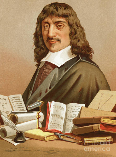 Wall Art - Painting - Rene Descartes By Portanell by Jose Armet Portanell