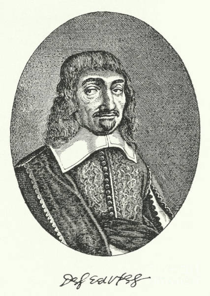 Wall Art - Drawing - Rene Descartes, French Philosopher Engraving  by German School