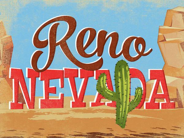 Reno Wall Art - Digital Art - Reno Nevada Cartoon Desert by Flo Karp