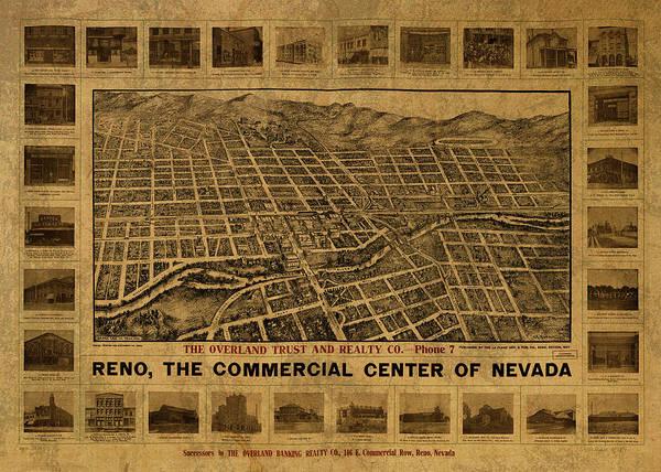 Reno Wall Art - Mixed Media - Reno Nevada Vintage City Street Map 1907 by Design Turnpike