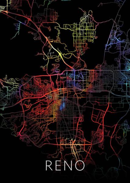 Reno Wall Art - Mixed Media - Reno Nevada Watercolor City Street Map Dark Mode by Design Turnpike