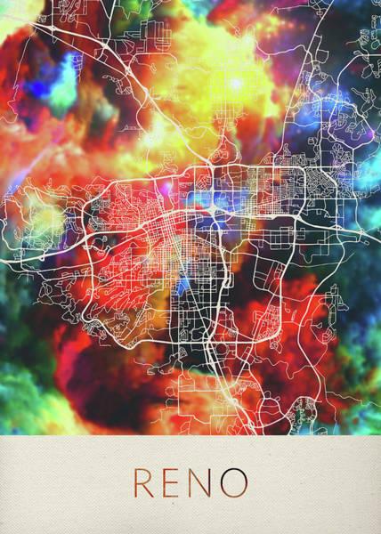 Reno Wall Art - Mixed Media - Reno Nevada Watercolor City Street Map by Design Turnpike