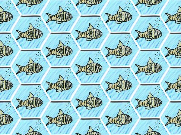 Wall Art - Mixed Media - Repeating Aquarium by Lisa Stanley