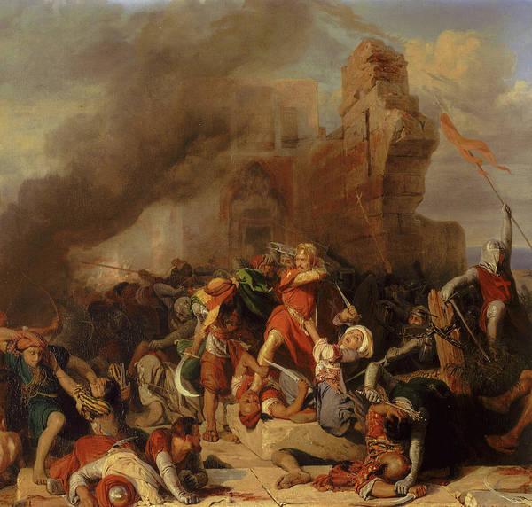 Wall Art - Painting - Reprise Du Chateau De Jaffa Occupe Par Saladin Par Le Roi D'angleterre Richard Coeur De Lion, 1192 by Edouard Girardet