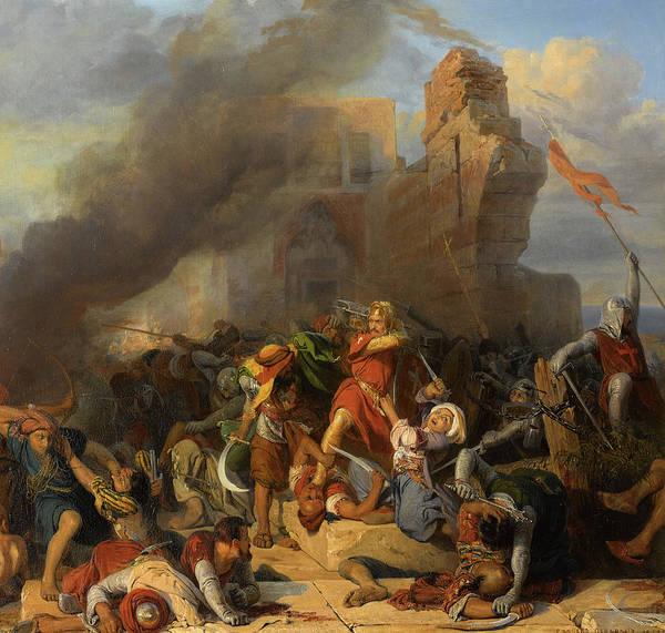 Wall Art - Painting - Reprise Du Chateau De Jaffa Occupe Par Saladin Par Le Roi D'angleterre Richard Coeur De Lion, 1192 by Edouard Henri Girardet