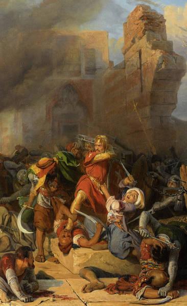 Wall Art - Painting - Reprise Du Chateau De Jaffa Occupe Par Saladin Par Le Roi D'angleterre Richard Coeur De Lion by Edouard Henri Girardet
