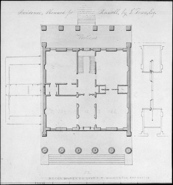 Leash Painting - Residence  Planned For Russell  By I  Town  Esq  Alexander Jackson Davis  American New York 1803 18 by Celestial Images