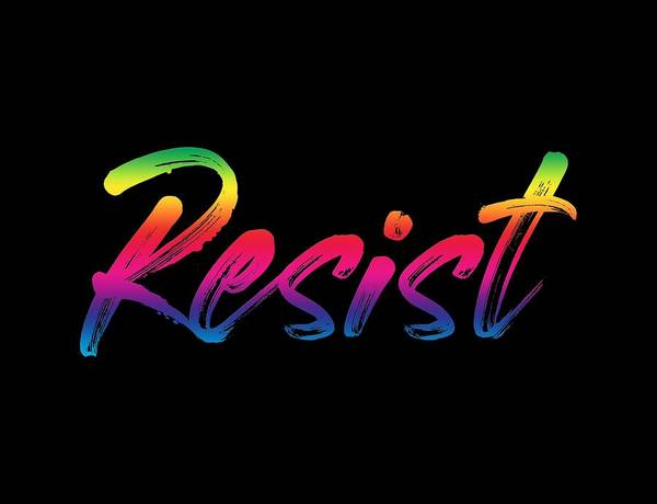 Digital Art - Resist - Rainbow On Black by Ruth Moratz