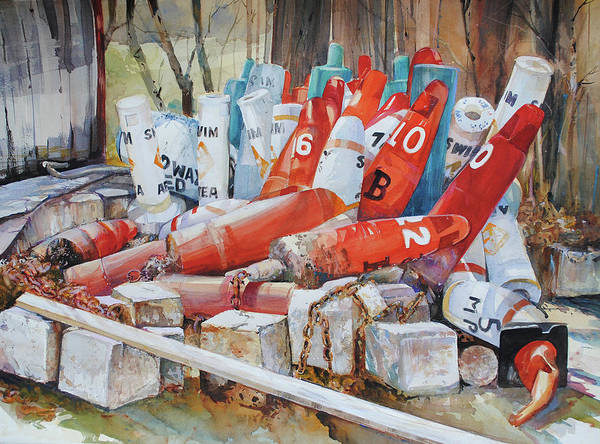 Painting - Resting Channel Markers by P Anthony Visco