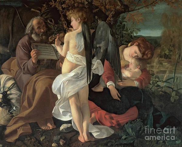 Wall Art - Painting - Rest On The Flight Into Egypt, Circa 1603 by Michelangelo Merisi Da Caravaggio