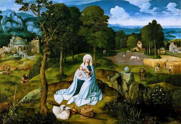 Wall Art - Painting - Rest On The Flight Into Egypt - Digital Remastered Edition by Joachim Patinir