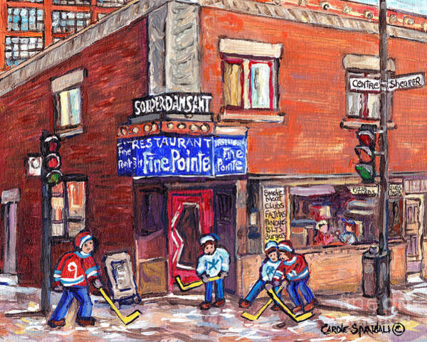 Painting - Restaurant A La Fine Pointe Psc Centre And Shearer Winter Street Verdun Montreal Hockey C Spandau by Carole Spandau