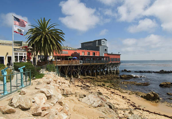 Monterey Bay Photograph - Restaurant And Shops Along The Water by Stephen Saks