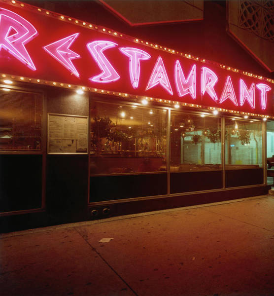 Neon Pink Photograph - Restaurant At Night by Silvia Otte