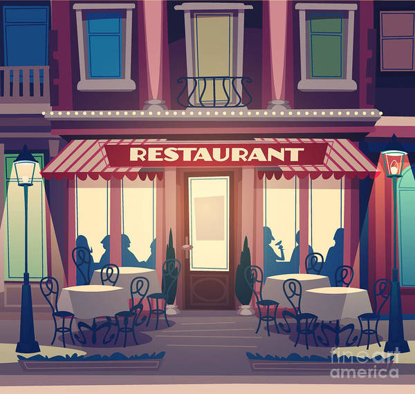 Wall Art - Digital Art - Restaurant Facade. Retro Style Vector by Doremi