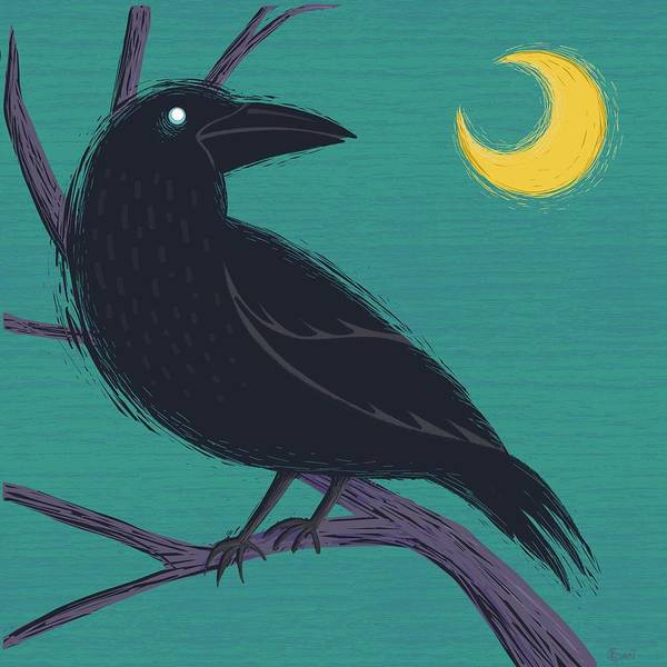 Wall Art - Painting - Restless Raven Once Upon A Midnight Dreary  by Little Bunny Sunshine