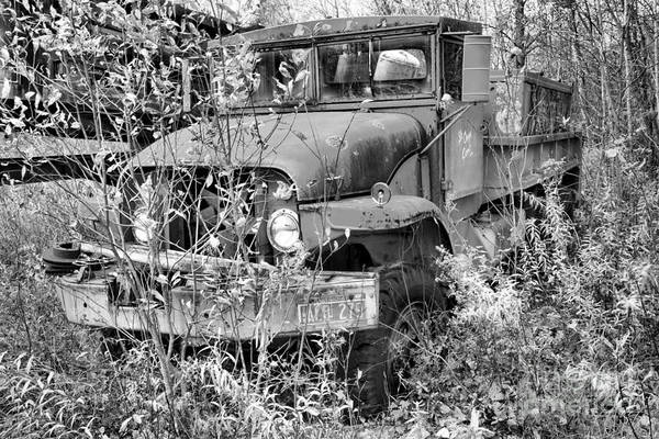 Photograph - Retired Red Fire Truck Black And White by Adam Jewell