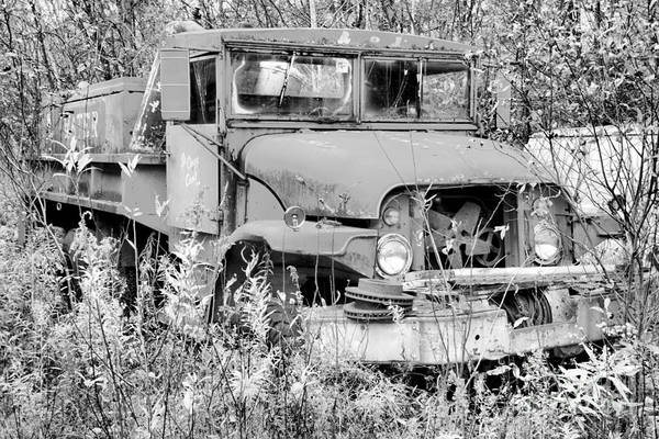 Photograph - Retired Vermont Fire Tanker Black And White by Adam Jewell