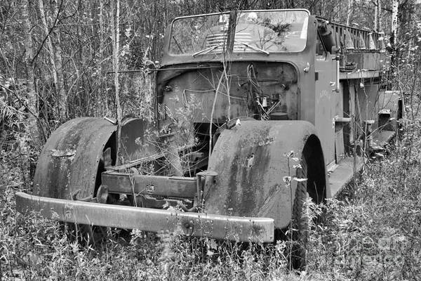 Photograph - Retirement Vermont Fire Truck Black And White by Adam Jewell