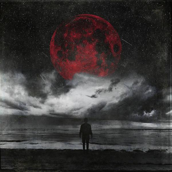 Photograph - Retreat - Surreal Seascape With Red Moon by Dirk Wuestenhagen