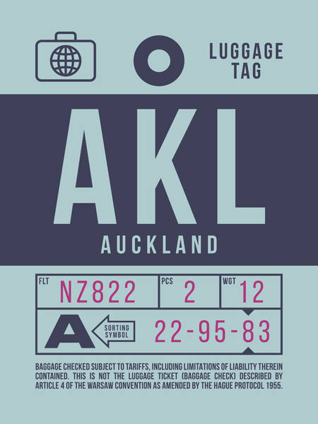 Wall Art - Digital Art - Retro Airline Luggage Tag 2.0 - Akl Auckland New Zealand by Ivan Krpan